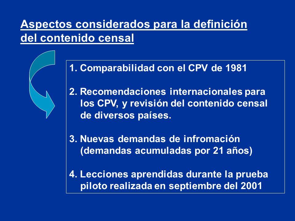 Principales cambios en el contenido censal (comparado con CPV-81).