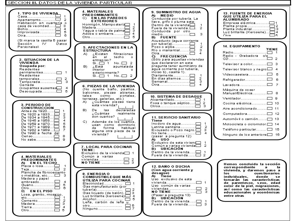 5. Características estructurales de la vivienda. Tipo de vivienda según estructura Número de habitaciones en la vivienda Número de dormitorios Número