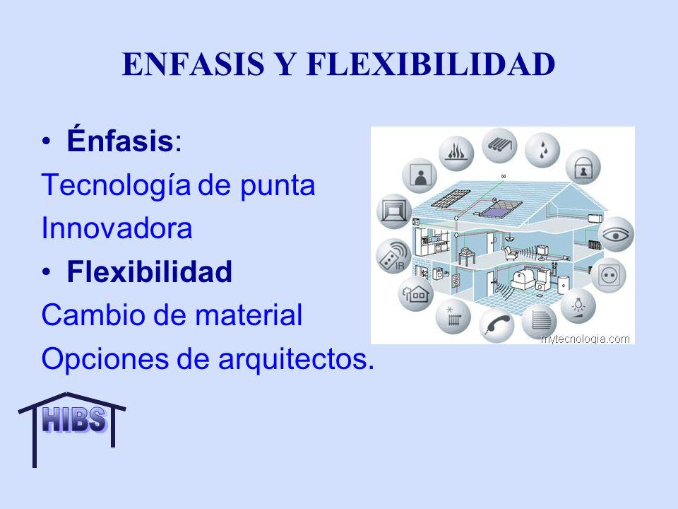 ENFASIS Y FLEXIBILIDAD Énfasis: Tecnología de punta Innovadora Flexibilidad Cambio de material Opciones de arquitectos.