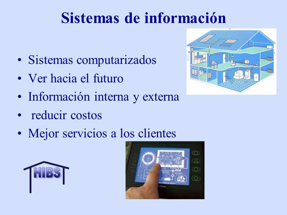Sistemas de información Sistemas computarizados Ver hacia el futuro Información interna y externa reducir costos Mejor servicios a los clientes