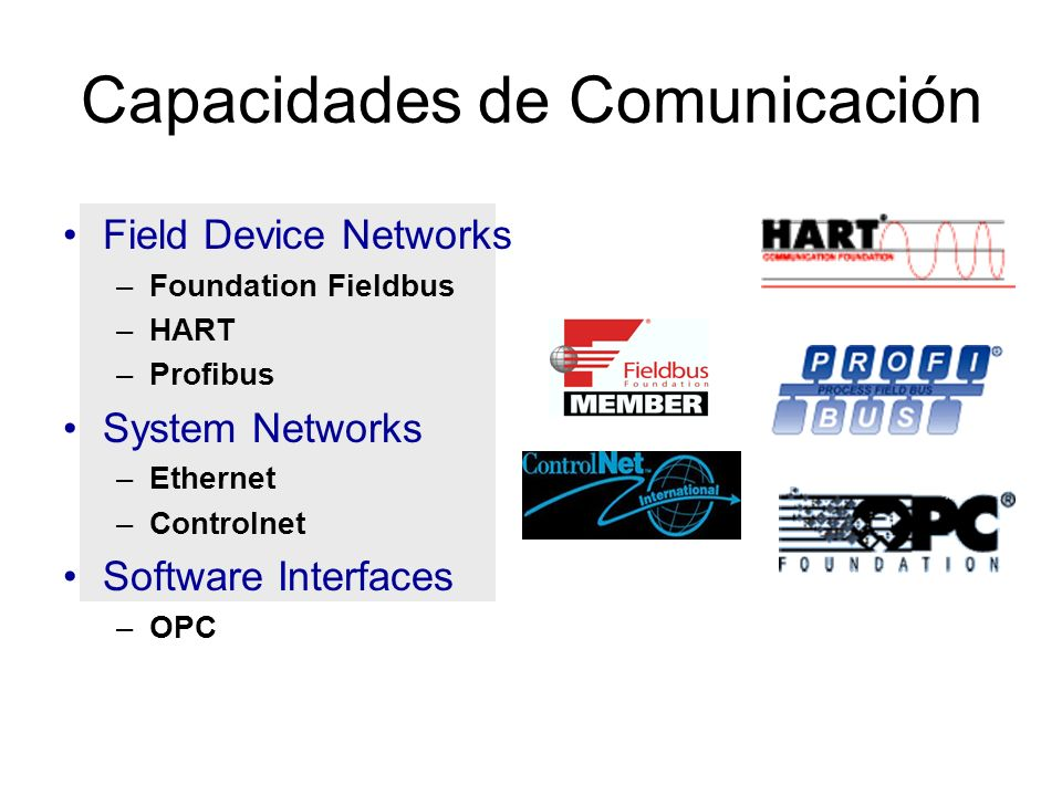 Capacidades de Comunicación Field Device Networks –Foundation Fieldbus –HART –Profibus System Networks –Ethernet –Controlnet Software Interfaces –OPC