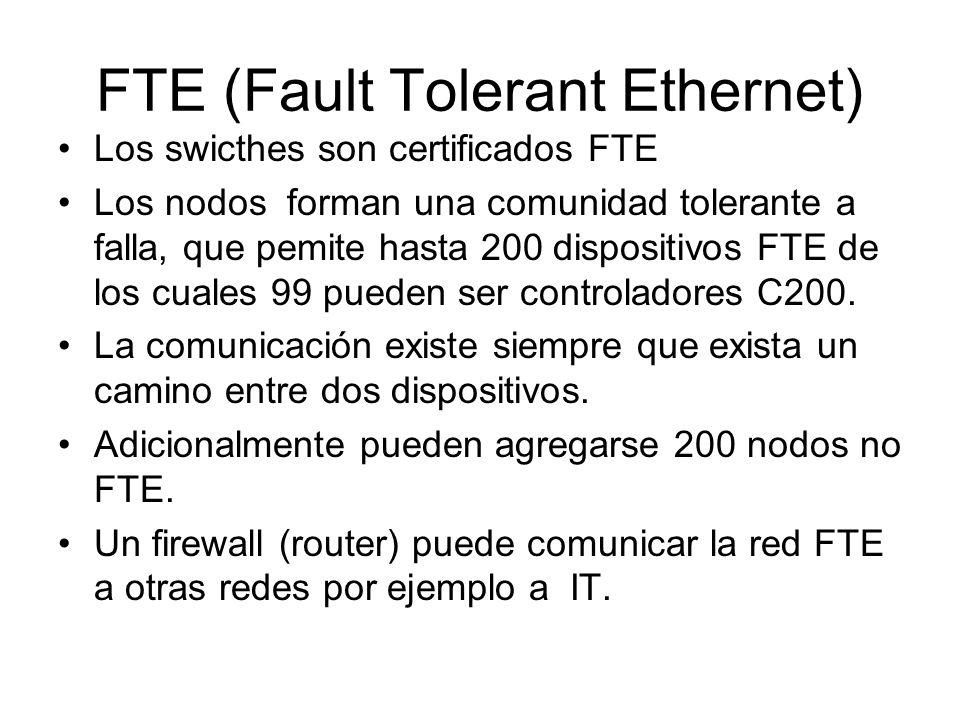 FTE (Fault Tolerant Ethernet) Los swicthes son certificados FTE Los nodos forman una comunidad tolerante a falla, que pemite hasta 200 dispositivos FT