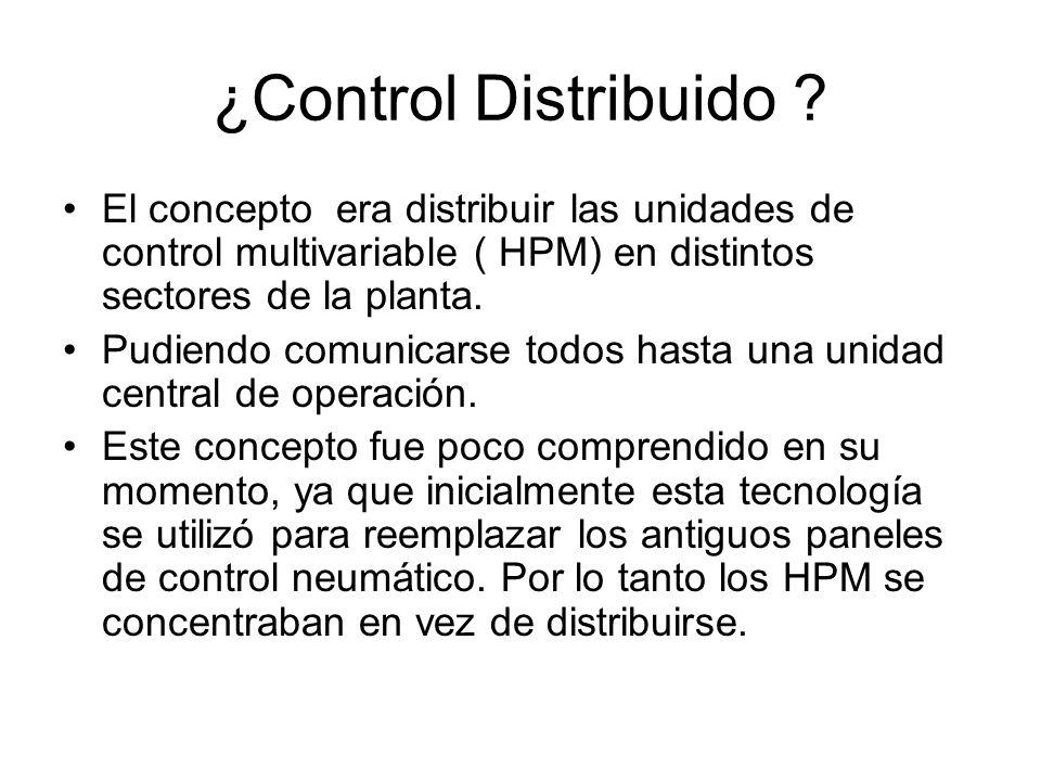 ¿Control Distribuido ? El concepto era distribuir las unidades de control multivariable ( HPM) en distintos sectores de la planta. Pudiendo comunicars