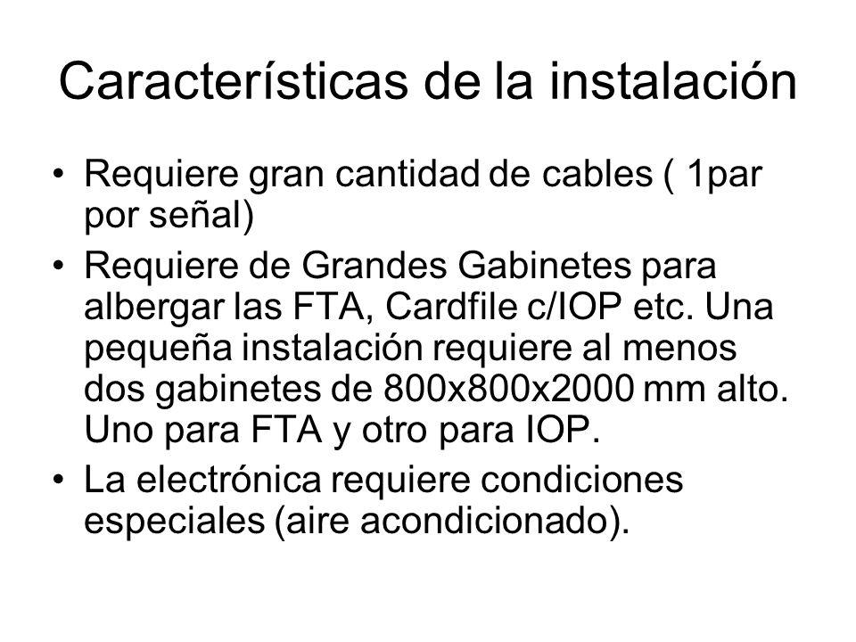 Características de la instalación Requiere gran cantidad de cables ( 1par por señal) Requiere de Grandes Gabinetes para albergar las FTA, Cardfile c/I