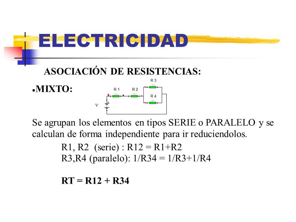 ELECTRICIDAD ASOCIACIÓN DE RESISTENCIAS: MIXTO: Se agrupan los elementos en tipos SERIE o PARALELO y se calculan de forma independiente para ir reduci