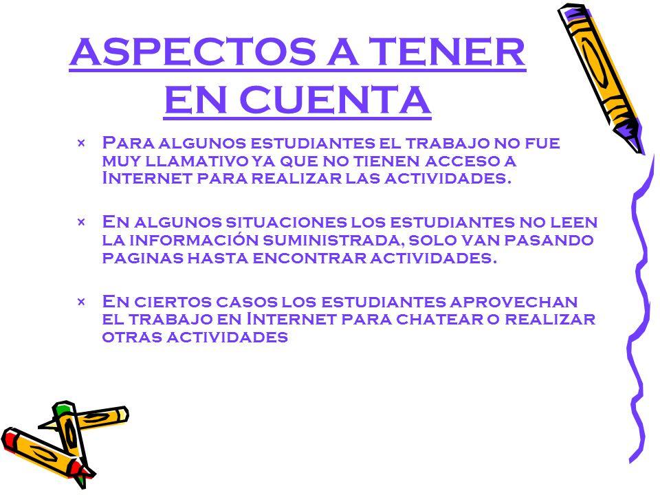 ASPECTOS A TENER EN CUENTA × Para algunos estudiantes el trabajo no fue muy llamativo ya que no tienen acceso a Internet para realizar las actividades.