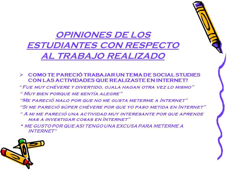 OPINIONES DE LOS ESTUDIANTES CON RESPECTO AL TRABAJO REALIZADO COMO TE PARECIÓ TRABAJAR UN TEMA DE SOCIAL STUDIES CON LAS ACTIVIDADES QUE REALIZASTE EN INTERNET.