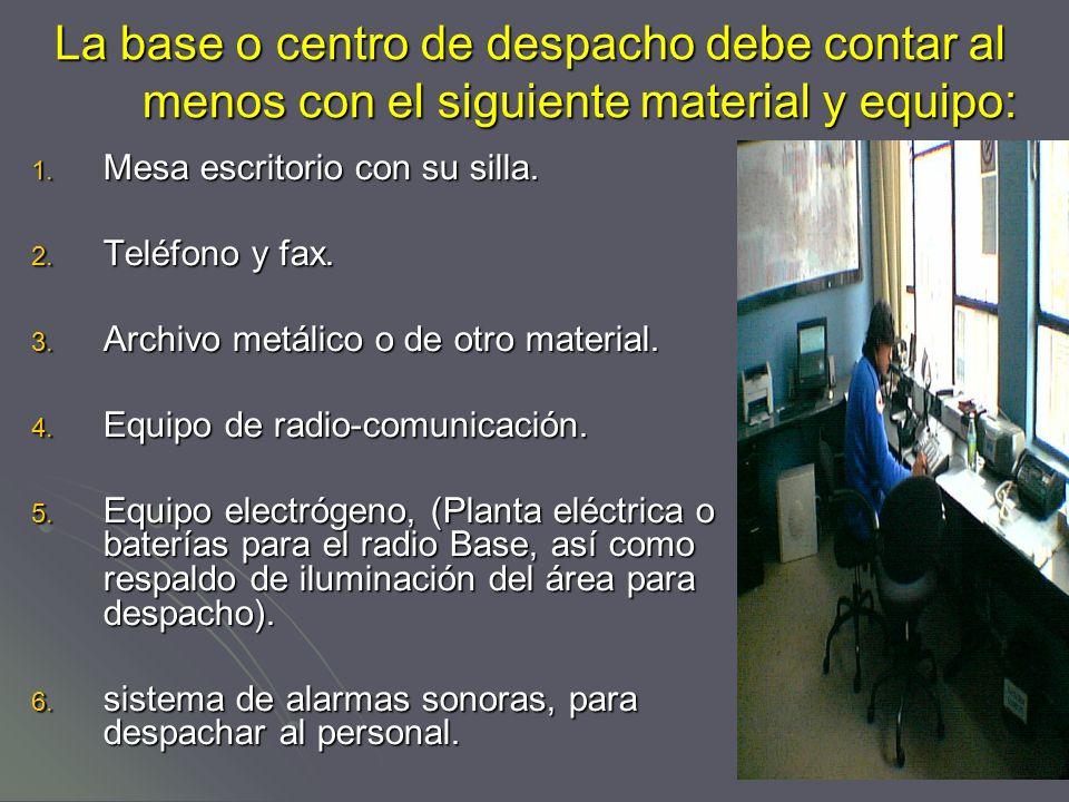 La base o centro de despacho debe contar al menos con el siguiente material y equipo: 1.