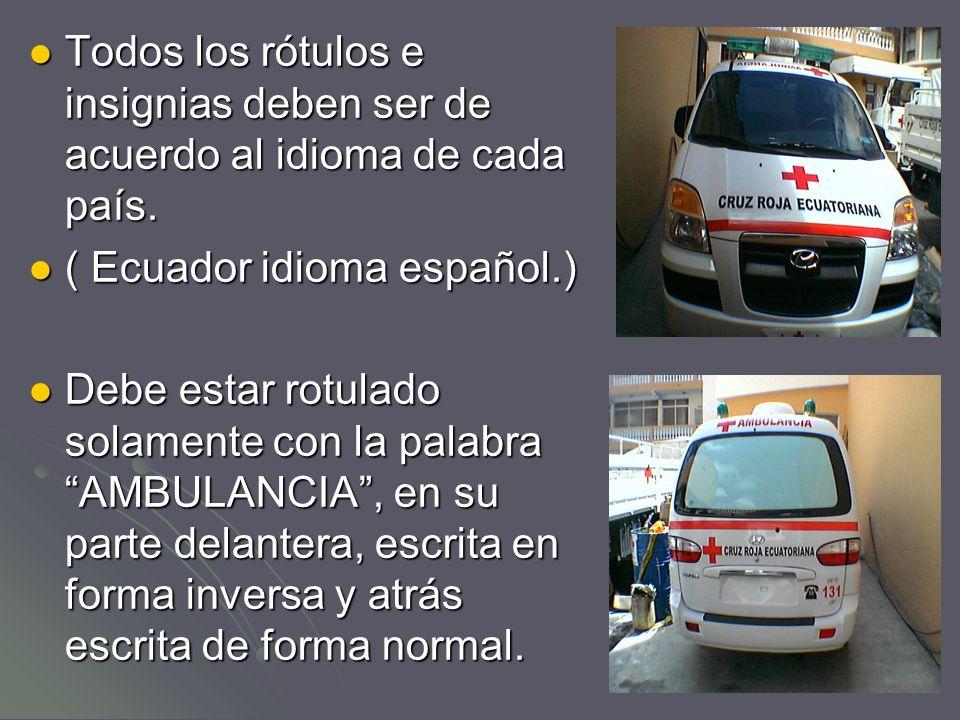 En los costados, el vehículo debe tener las siguientes inscripciones: Nombre y distintivo de la organización o institución a la que pertenece.