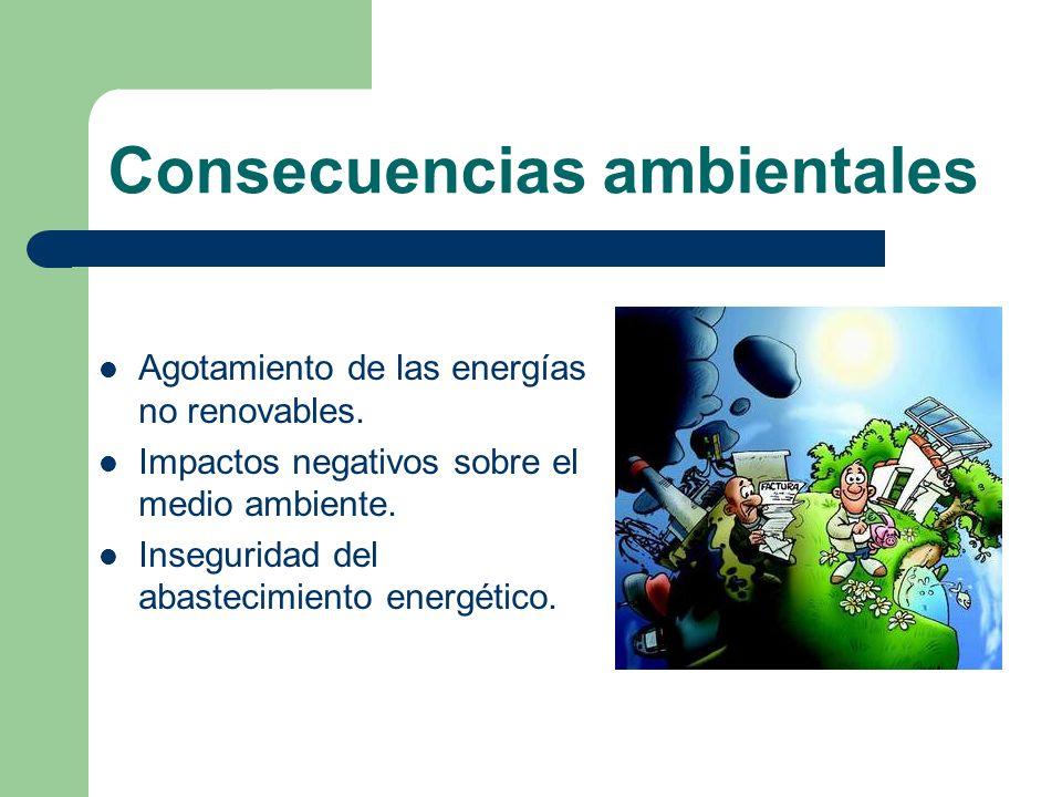 Consecuencias ambientales Agotamiento de las energías no renovables. Impactos negativos sobre el medio ambiente. Inseguridad del abastecimiento energé