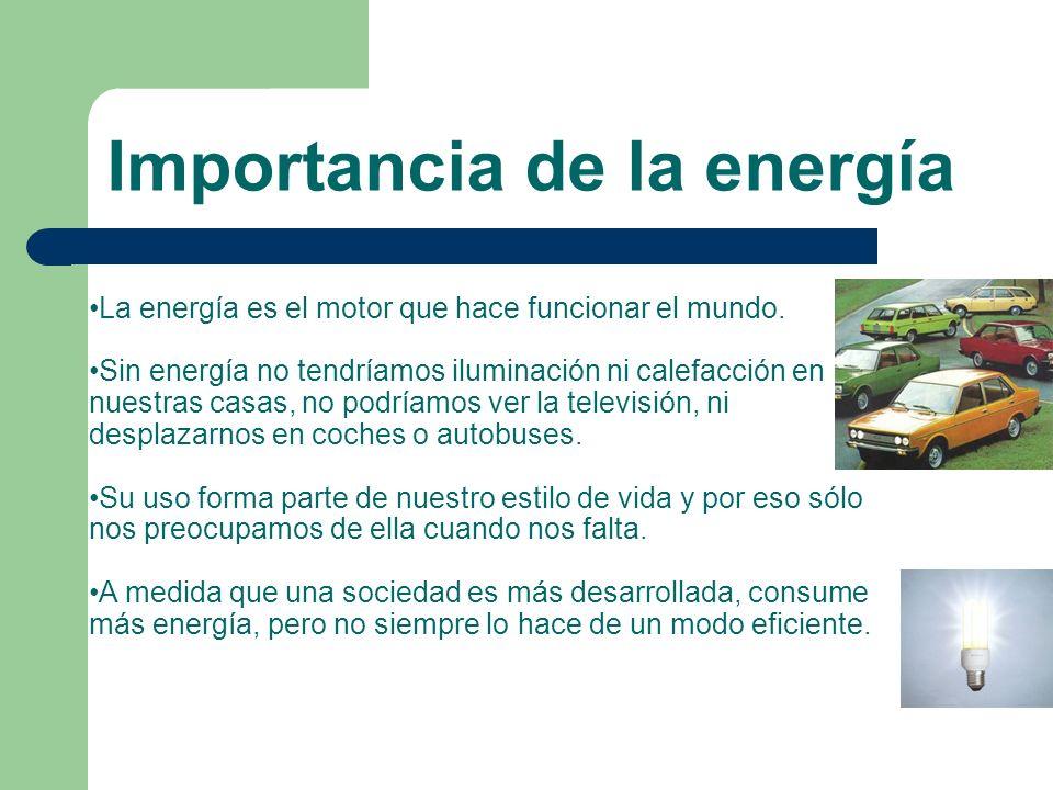 Importancia de la energía La energía es el motor que hace funcionar el mundo. Sin energía no tendríamos iluminación ni calefacción en nuestras casas,