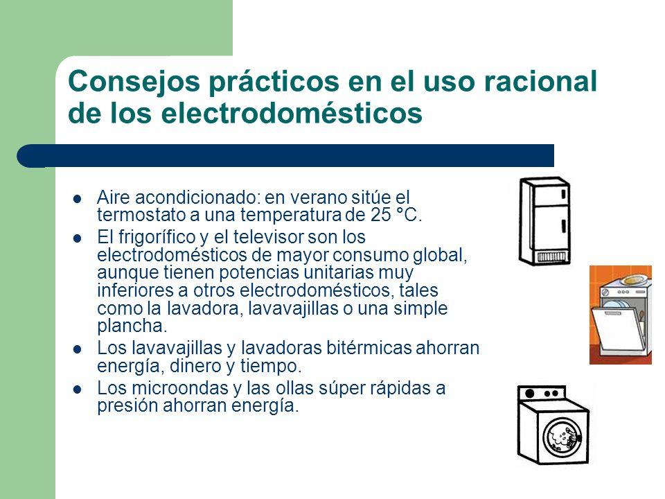 Consejos prácticos en el uso racional de los electrodomésticos Aire acondicionado: en verano sitúe el termostato a una temperatura de 25 °C. El frigor