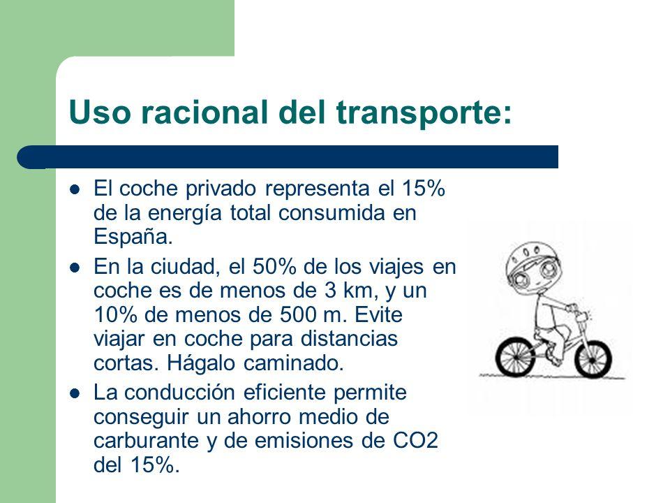 Uso racional del transporte: El coche privado representa el 15% de la energía total consumida en España. En la ciudad, el 50% de los viajes en coche e