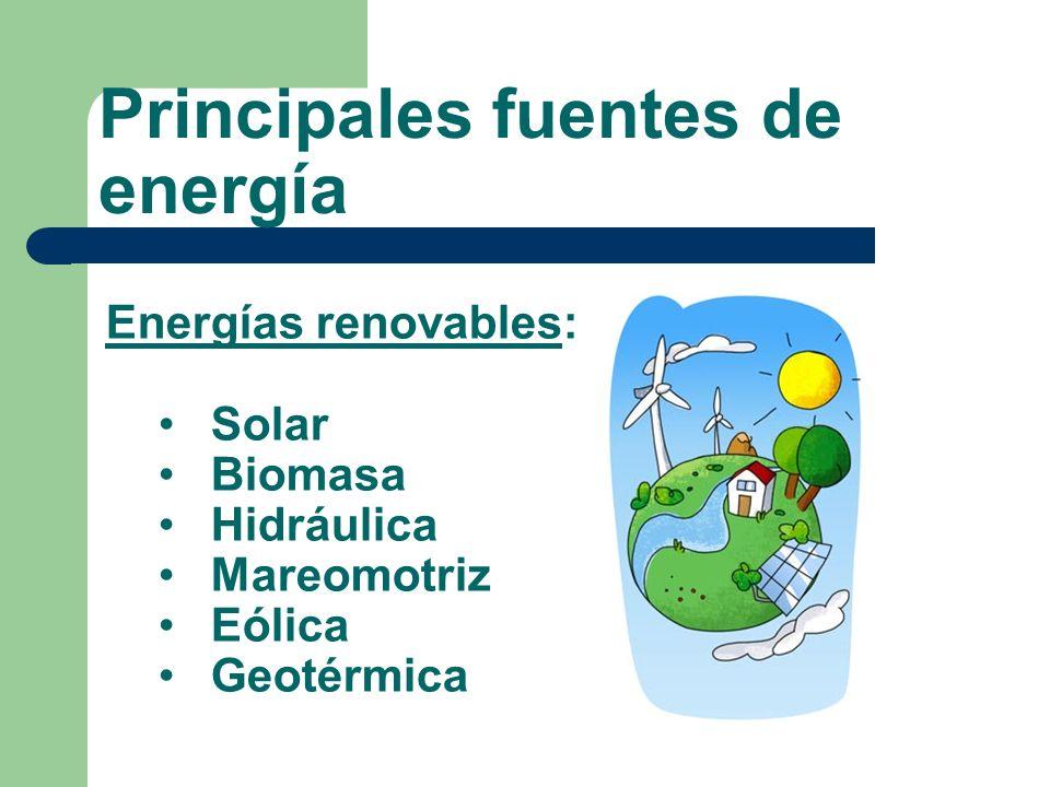 Principales fuentes de energía Energías renovables: Solar Biomasa Hidráulica Mareomotriz Eólica Geotérmica