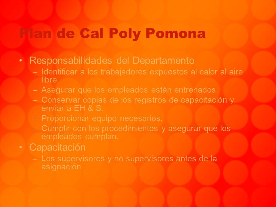 Plan de Cal Poly Pomona Responsabilidades del Departamento –Identificar a los trabajadores expuestos al calor al aire libre. –Asegurar que los emplead