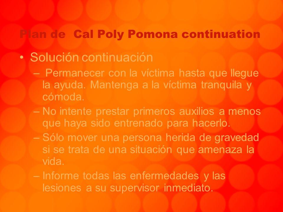 Plan de Cal Poly Pomona continuation Solución continuación – Permanecer con la víctima hasta que llegue la ayuda. Mantenga a la víctima tranquila y có