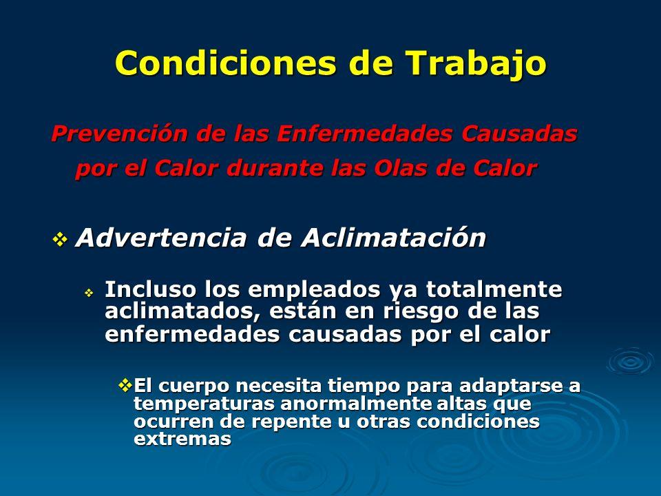Condiciones de Trabajo Prevención de las Enfermedades Causadas por el Calor durante las Olas de Calor Advertencia de Aclimatación Advertencia de Aclim