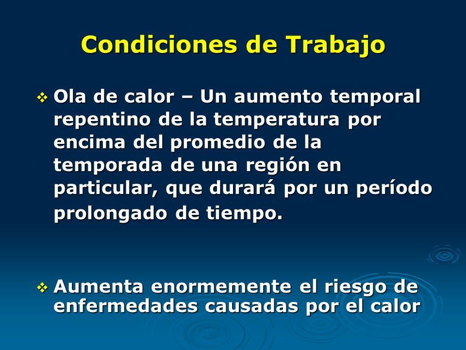 Condiciones de Trabajo Ola de calor – Un aumento temporal repentino de la temperatura por encima del promedio de la temporada de una región en particular, que durará por un período prolongado de tiempo.