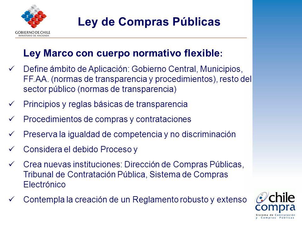 Ley Marco con cuerpo normativo flexible : Define ámbito de Aplicación: Gobierno Central, Municipios, FF.AA. (normas de transparencia y procedimientos)