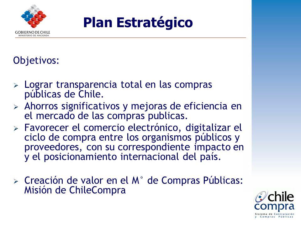 Objetivos: Lograr transparencia total en las compras públicas de Chile. Ahorros significativos y mejoras de eficiencia en el mercado de las compras pu