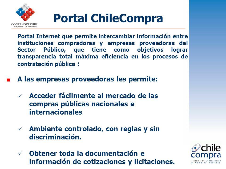 Portal ChileCompra Portal Internet que permite intercambiar información entre instituciones compradoras y empresas proveedoras del Sector Público, que