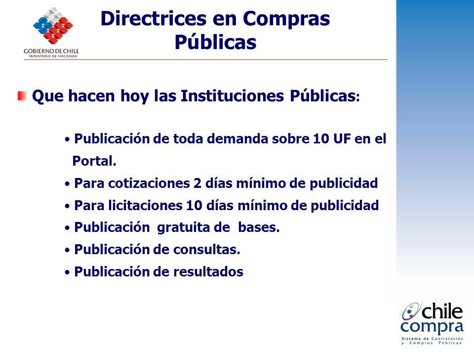 Directrices en Compras Públicas Que hacen hoy las Instituciones Públicas : Publicación de toda demanda sobre 10 UF en el Portal. Para cotizaciones 2 d