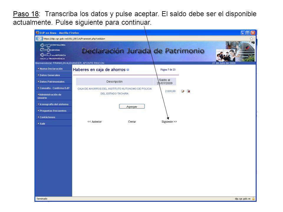 Paso 18 Paso 18: Transcriba los datos y pulse aceptar.