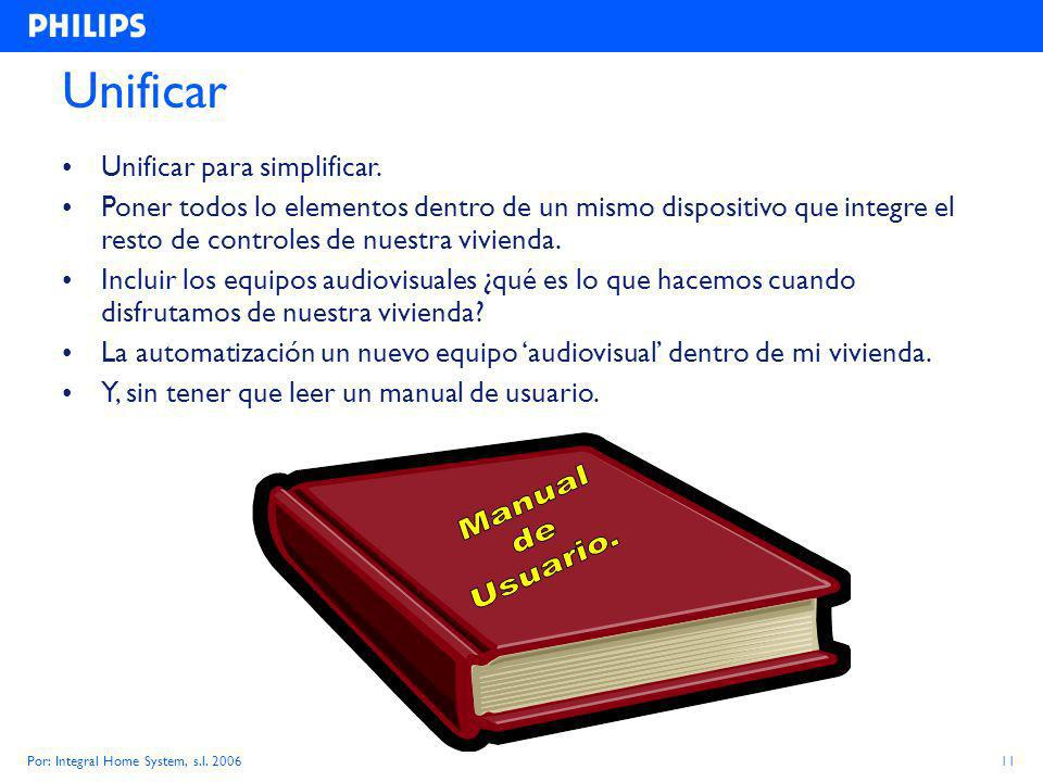 Por: Integral Home System, s.l. 200611 Unificar Unificar para simplificar.