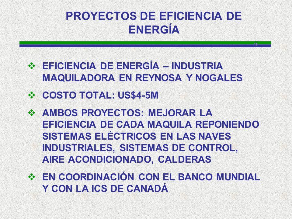 19 PROYECTOS DE EFICIENCIA DE ENERGÍA EFICIENCIA DE ENERGÍA – INDUSTRIA MAQUILADORA EN REYNOSA Y NOGALES COSTO TOTAL: US$4-5M AMBOS PROYECTOS: MEJORAR LA EFICIENCIA DE CADA MAQUILA REPONIENDO SISTEMAS ELÉCTRICOS EN LAS NAVES INDUSTRIALES, SISTEMAS DE CONTROL, AIRE ACONDICIONADO, CALDERAS EN COORDINACIÓN CON EL BANCO MUNDIAL Y CON LA ICS DE CANADÁ