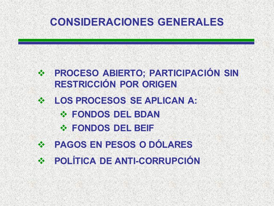 CONSIDERACIONES GENERALES PROCESO ABIERTO; PARTICIPACIÓN SIN RESTRICCIÓN POR ORIGEN LOS PROCESOS SE APLICAN A: FONDOS DEL BDAN FONDOS DEL BEIF PAGOS EN PESOS O DÓLARES POLÍTICA DE ANTI-CORRUPCIÓN