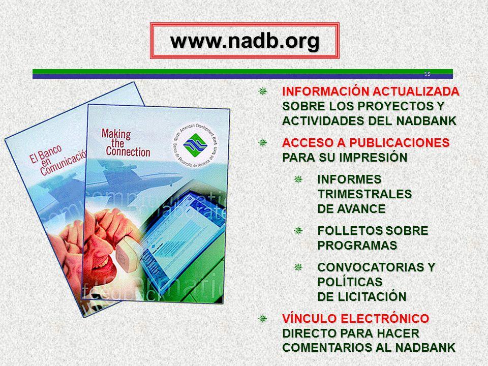35www.nadb.org INFORMACIÓN ACTUALIZADA SOBRE LOS PROYECTOS Y ACTIVIDADES DEL NADBANK INFORMACIÓN ACTUALIZADA SOBRE LOS PROYECTOS Y ACTIVIDADES DEL NADBANK ACCESO A PUBLICACIONES PARA SU IMPRESIÓN ACCESO A PUBLICACIONES PARA SU IMPRESIÓN INFORMES TRIMESTRALES DE AVANCE INFORMES TRIMESTRALES DE AVANCE FOLLETOS SOBRE PROGRAMAS FOLLETOS SOBRE PROGRAMAS CONVOCATORIAS Y POLÍTICAS DE LICITACIÓN CONVOCATORIAS Y POLÍTICAS DE LICITACIÓN VÍNCULO ELECTRÓNICO DIRECTO PARA HACER COMENTARIOS AL NADBANK VÍNCULO ELECTRÓNICO DIRECTO PARA HACER COMENTARIOS AL NADBANK