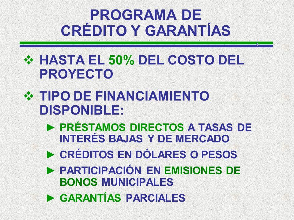 6 PROGRAMA DE CRÉDITO Y GARANTÍAS HASTA EL 50% DEL COSTO DEL PROYECTO TIPO DE FINANCIAMIENTO DISPONIBLE: PRÉSTAMOS DIRECTOS A TASAS DE INTERÉS BAJAS Y DE MERCADO CRÉDITOS EN DÓLARES O PESOS PARTICIPACIÓN EN EMISIONES DE BONOS MUNICIPALES GARANTÍAS PARCIALES