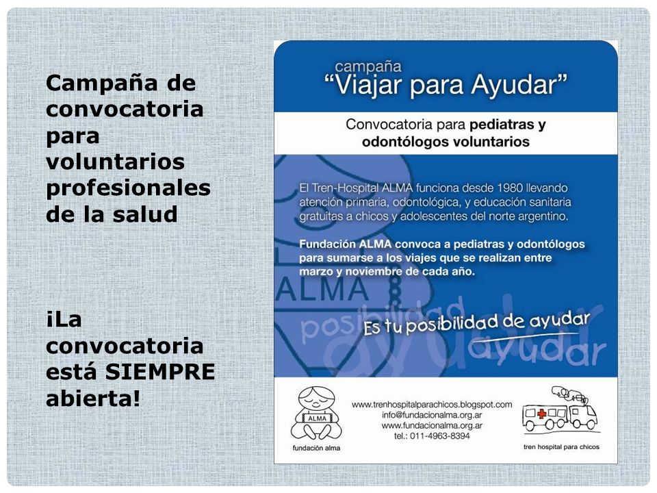Campaña de convocatoria para voluntarios profesionales de la salud ¡La convocatoria está SIEMPRE abierta!