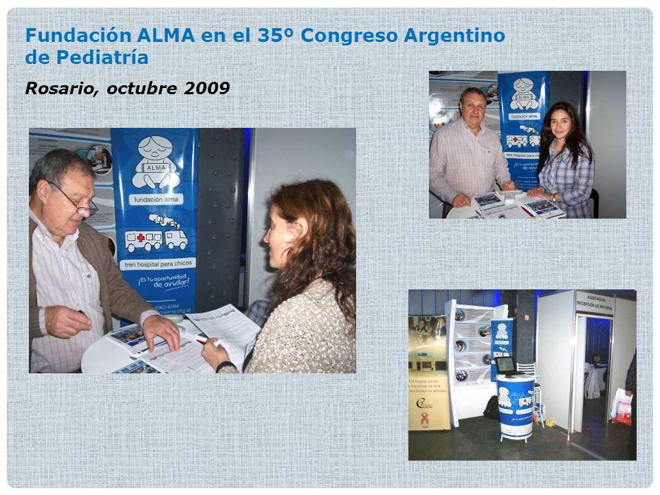 Fundación Alma en las Jornadas de Salud Mental Facultad de Medicina - UBA Buenos Aires, octubre 2010 Reconocimiento de la Sociedad Argentina de Pediatría (SAP): Distinción al mérito Buenos Aires, octubre 2008