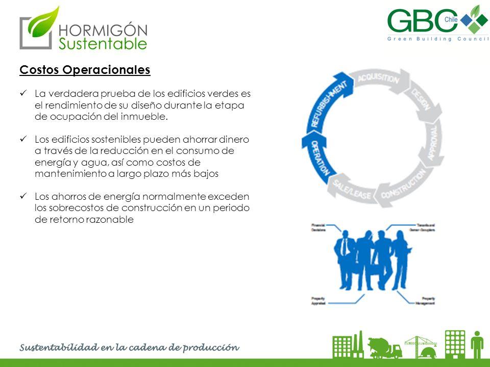 Costos Operacionales La verdadera prueba de los edificios verdes es el rendimiento de su diseño durante la etapa de ocupación del inmueble. Los edific