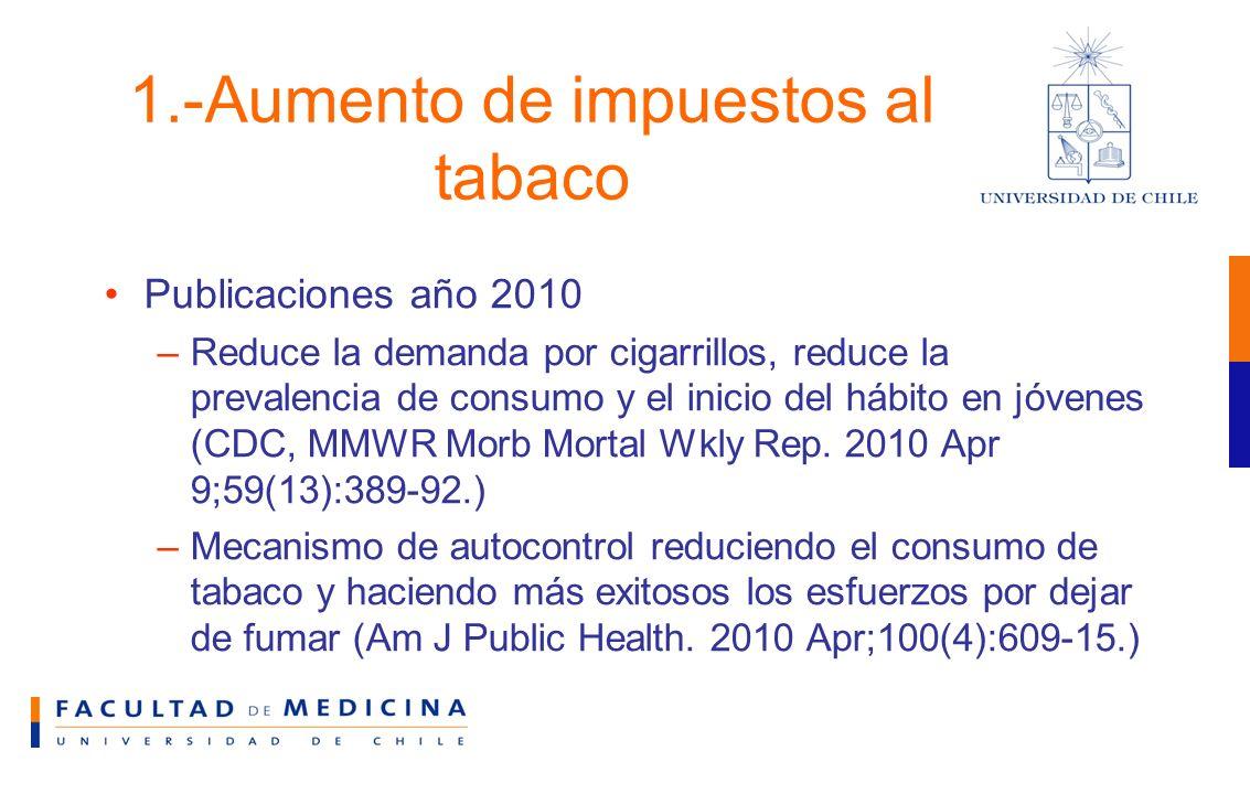 1.-Aumento de impuestos al tabaco Publicaciones año 2010 –Reduce la demanda por cigarrillos, reduce la prevalencia de consumo y el inicio del hábito en jóvenes (CDC, MMWR Morb Mortal Wkly Rep.