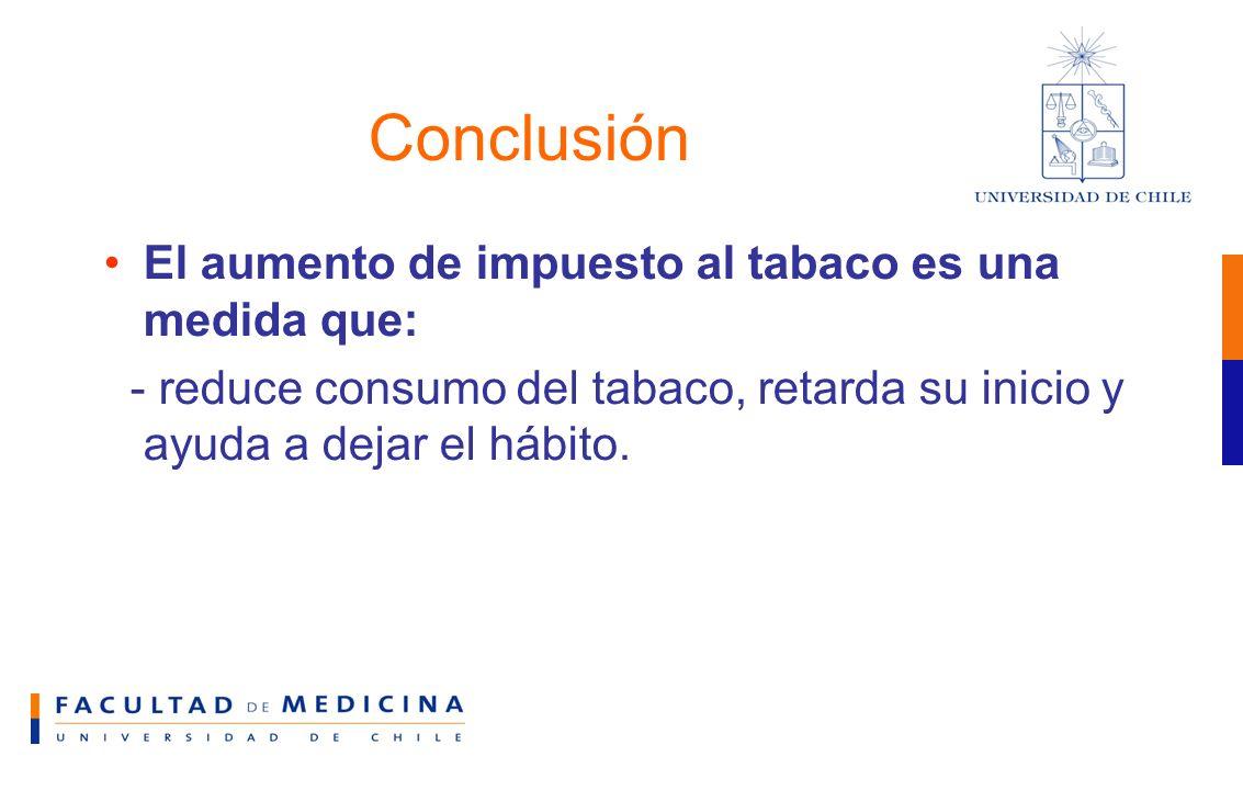 Conclusión El aumento de impuesto al tabaco es una medida que: - reduce consumo del tabaco, retarda su inicio y ayuda a dejar el hábito.