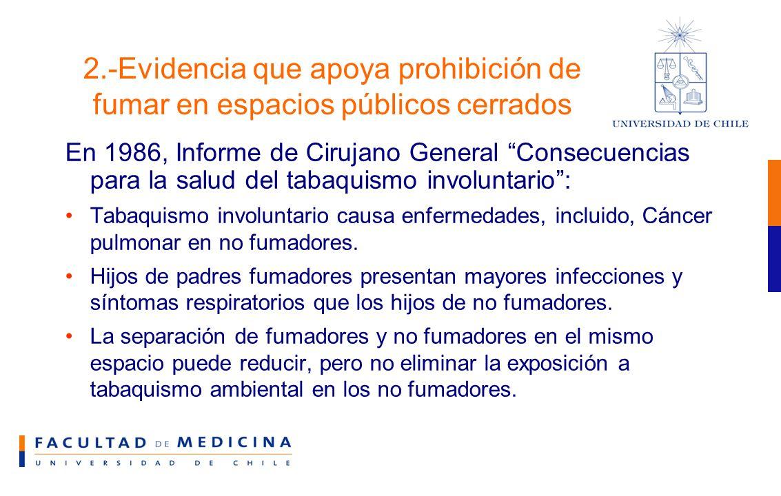 2.-Evidencia que apoya prohibición de fumar en espacios públicos cerrados En 1986, Informe de Cirujano General Consecuencias para la salud del tabaquismo involuntario: Tabaquismo involuntario causa enfermedades, incluido, Cáncer pulmonar en no fumadores.