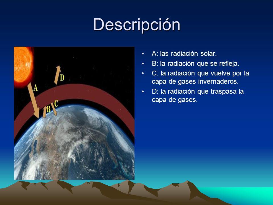 Descripción A: las radiación solar. B: la radiación que se refleja. C: la radiación que vuelve por la capa de gases invernaderos. D: la radiación que