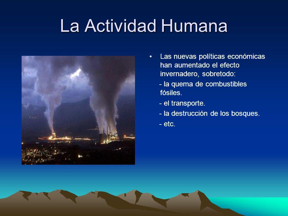 La Actividad Humana Las nuevas políticas económicas han aumentado el efecto invernadero, sobretodo: - la quema de combustibles fósiles. - el transport