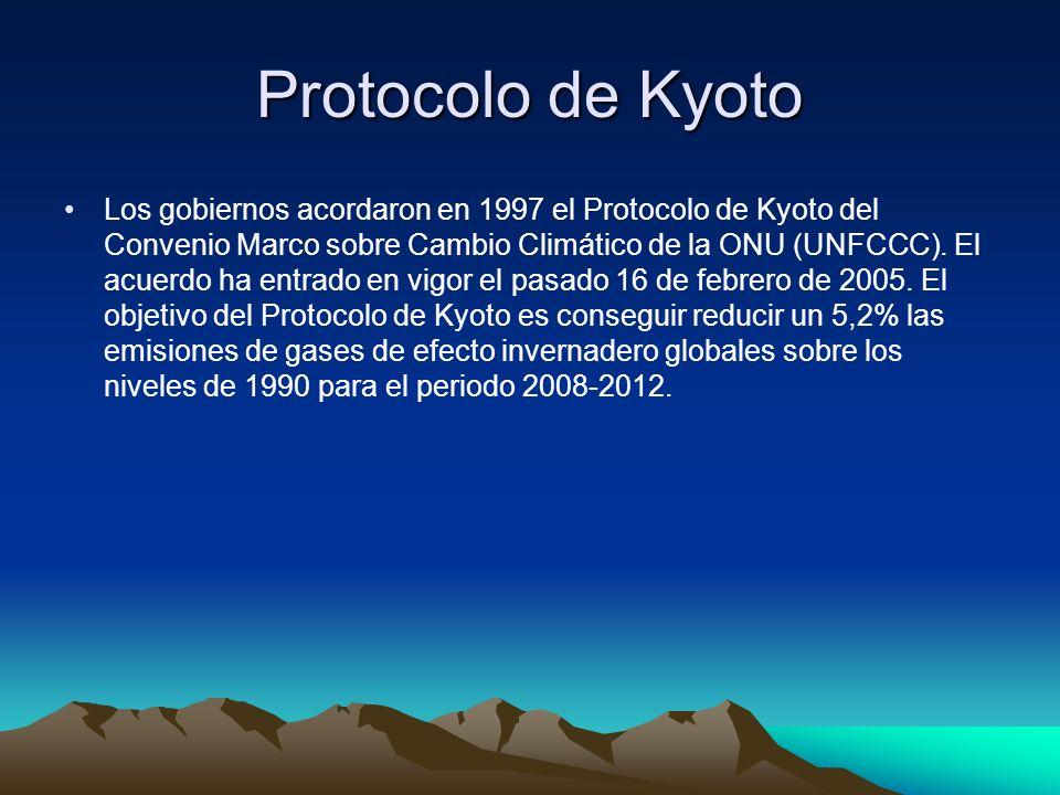 Protocolo de Kyoto Los gobiernos acordaron en 1997 el Protocolo de Kyoto del Convenio Marco sobre Cambio Climático de la ONU (UNFCCC). El acuerdo ha e