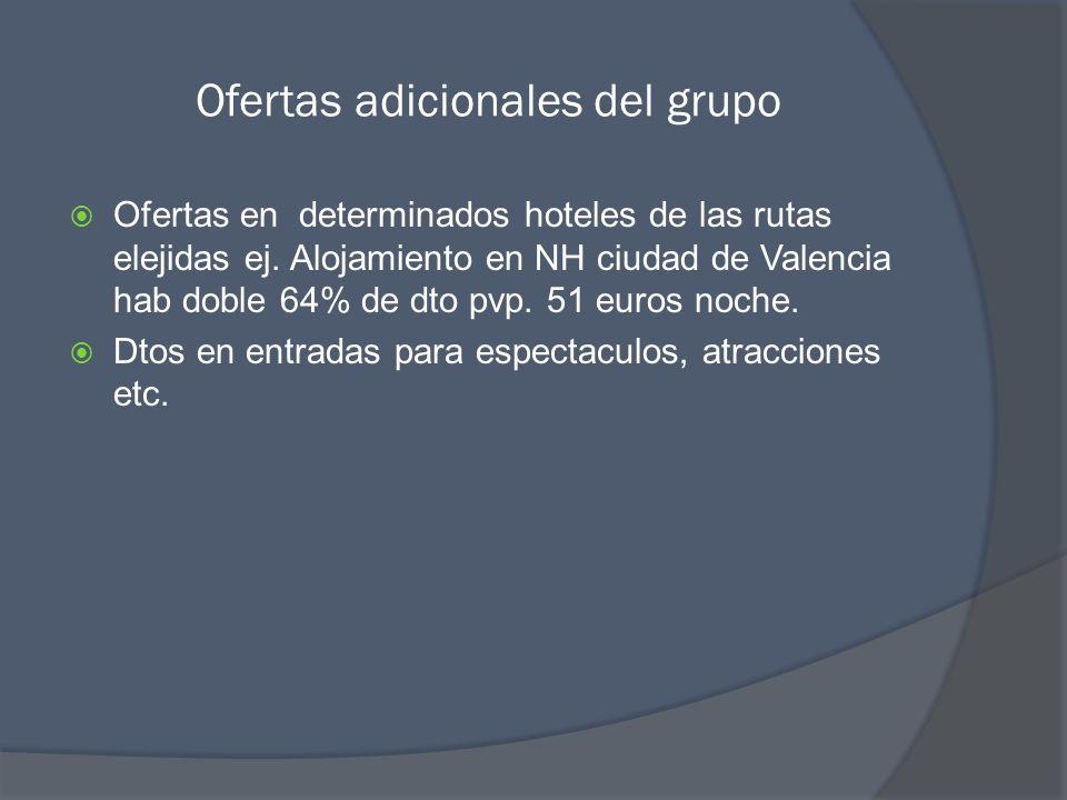 Ofertas adicionales del grupo Ofertas en determinados hoteles de las rutas elejidas ej. Alojamiento en NH ciudad de Valencia hab doble 64% de dto pvp.