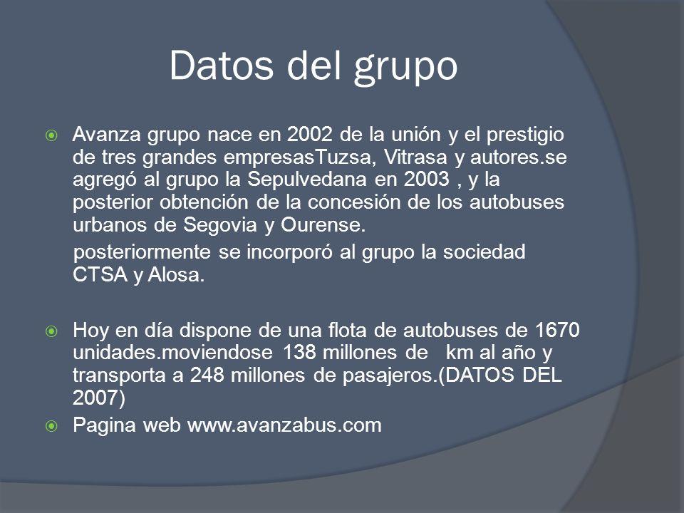 Datos del grupo Avanza grupo nace en 2002 de la unión y el prestigio de tres grandes empresasTuzsa, Vitrasa y autores.se agregó al grupo la Sepulvedan