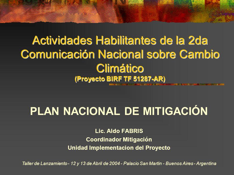 Taller de Lanzamiento - 12 y 13 de Abril de 2004 - Palacio San Martin - Buenos Aires - Argentina Actividades Habilitantes de la 2da Comunicación Nacional sobre Cambio Climático (Proyecto BIRF TF 51287-AR) PLAN NACIONAL DE MITIGACIÓN Lic.