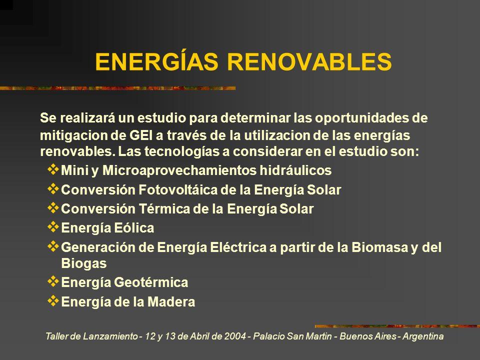 Taller de Lanzamiento - 12 y 13 de Abril de 2004 - Palacio San Martin - Buenos Aires - Argentina ENERGÍAS RENOVABLES Se realizará un estudio para determinar las oportunidades de mitigacion de GEI a través de la utilizacion de las energías renovables.