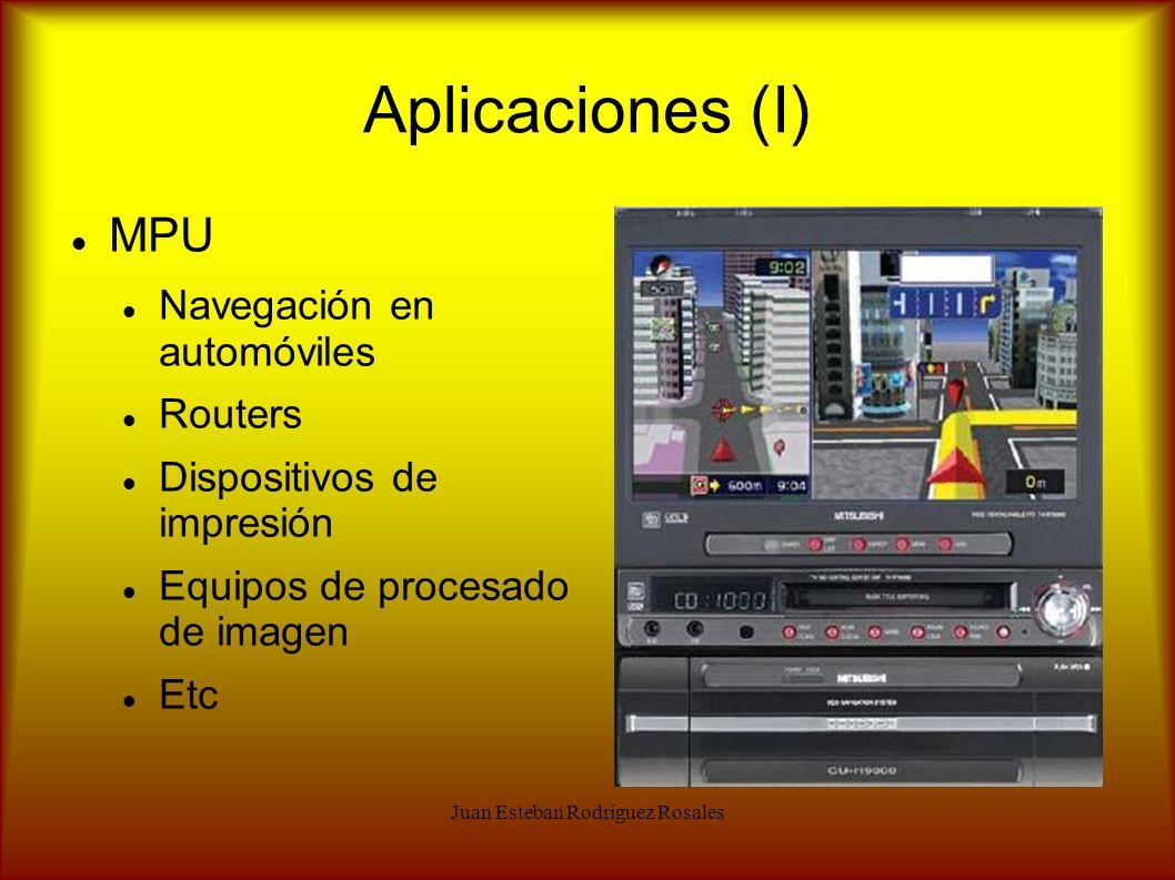 Juan Esteban Rodríguez Rosales Aplicaciones (I) MPU Navegación en automóviles Routers Dispositivos de impresión Equipos de procesado de imagen Etc