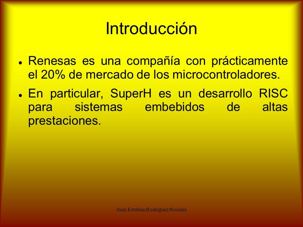 Juan Esteban Rodríguez Rosales Introducción Renesas es una compañía con prácticamente el 20% de mercado de los microcontroladores. En particular, Supe
