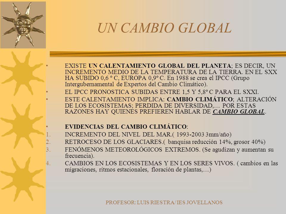 PROFESOR: LUIS RIESTRA/ IES JOVELLANOS UN CAMBIO GLOBAL EXISTE UN CALENTAMIENTO GLOBAL DEL PLANETA; ES DECIR, UN INCREMENTO MEDIO DE LA TEMPERATURA DE