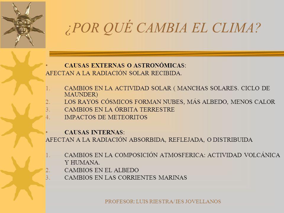 PROFESOR: LUIS RIESTRA/ IES JOVELLANOS ¿POR QUÉ CAMBIA EL CLIMA? CAUSAS EXTERNAS O ASTRONÓMICAS: AFECTAN A LA RADIACIÓN SOLAR RECIBIDA. 1.CAMBIOS EN L