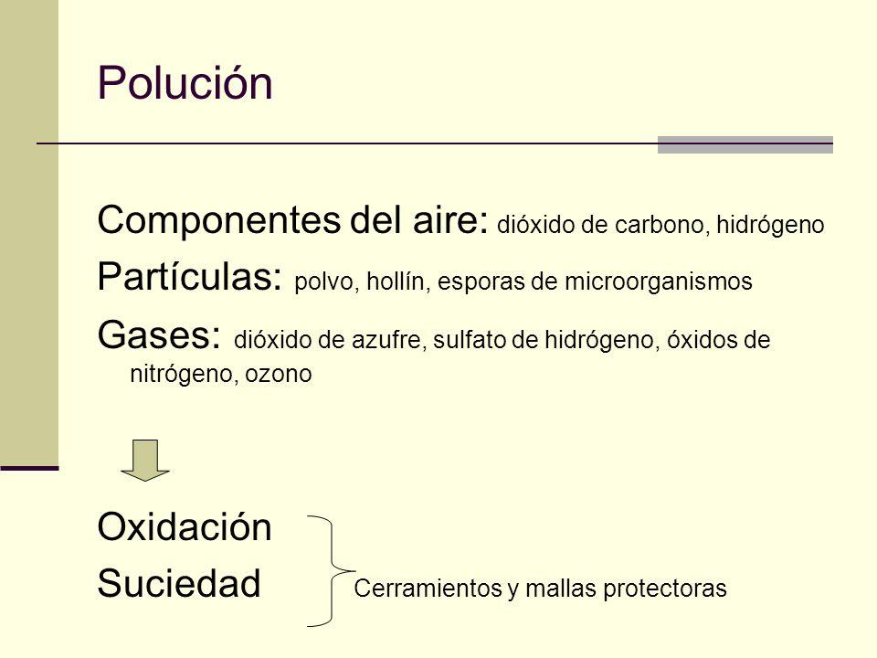Polución Componentes del aire: dióxido de carbono, hidrógeno Partículas: polvo, hollín, esporas de microorganismos Gases: dióxido de azufre, sulfato de hidrógeno, óxidos de nitrógeno, ozono Oxidación Suciedad Cerramientos y mallas protectoras